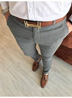 Terzi Adem 2357 İtalyan Kesim Slim Fit Koyu Gri Kumaş Pantolon T3483